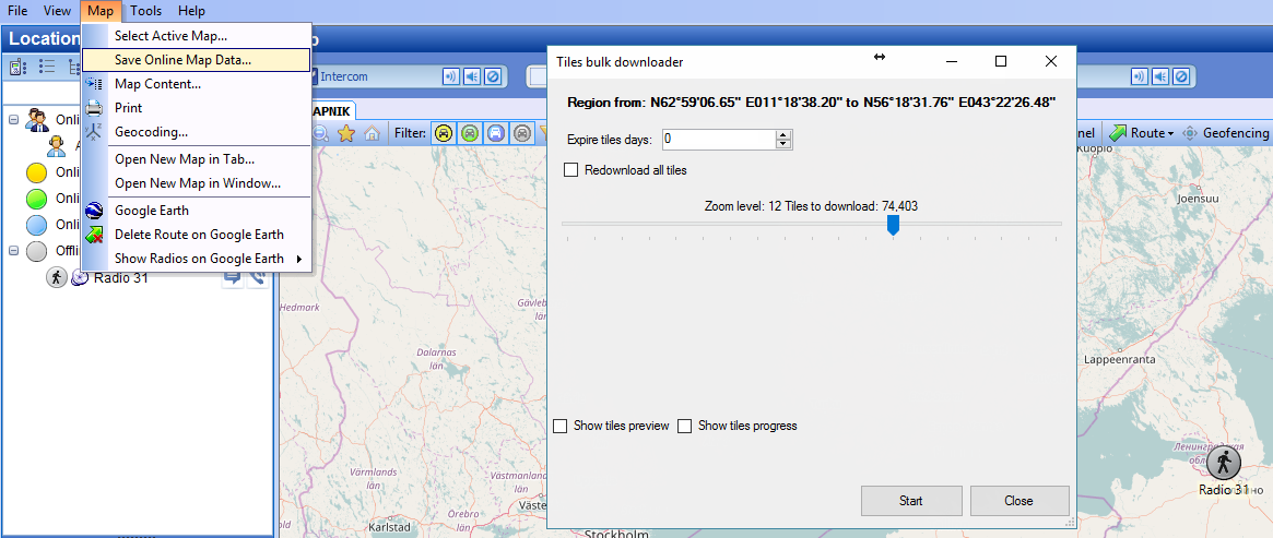 Caching Online Maps In Trbonet And Transfering This Cache To